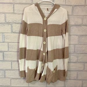 Free People Striped Hooded Sweater Cardigan